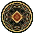 """8x8 Round Area Rug Southwest Southwestern Southern Medallion Black AZ Size 7'6"""""""