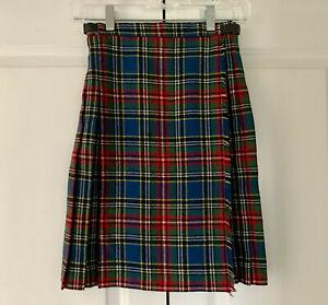 """Vtg KENMORE Blue & Green Plaid Scottish Kilt Wrap Buckle Skirt Childs 24"""" waist"""