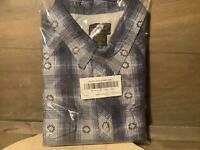 High Noon Men Western Shirt NAVY PRINT FLANNEL SIZE 3XL LONG SLEEVE SNAP UP NEW