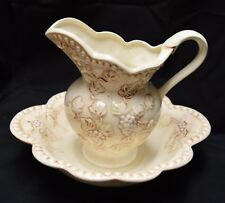 Large Antique Pitcher & Wash Basin Bowl Set Cream and Brown with Raised Flowers