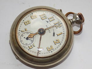 MEN'S SUBITO SWITZERLAND NICKEL SILVER CASED CROWN WIND ALARM POCKET WATCH W/O