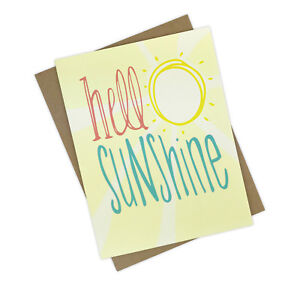 Handmade Thinking of You Greeting Card with Bright and Happy Hello Sunshine