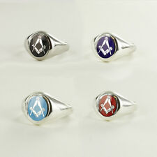 More details for solid silver square and compass masonic ring- (red, blue,black,light blue)