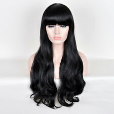 Blunt Bangs Synthetic Fiber Long Natural Wavy Black Full Wigs Wig For Thin Hair
