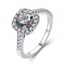 Anniversary Gift Ring Size 8 Fashion Silver Rainbow Zircon Wedding Jewelry