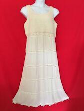 Mix Nouveau Women Long Maxi Dress 16 L Ivory Off White Crochet Wedding Chic 1J85