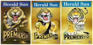 SET OF 3 RICHMOND KNIGHT PREMIERSHIP GOLD POSTERS 2017 2019 & 2020 FREE POSTAGE