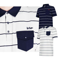 Ex Store Mens Striped Polo Shirt Short Sleeve Collar Casual Tee Tops Lee Cooper