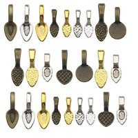 130pcs Mix Color Spoon DIY Oval Glue on Bails-Small Pendant Bails-Jewelry Bails