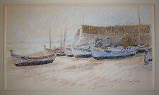 Bechon-Sauzeau Pierre Roger Al pastel signée paysage marin Quarteira Portugal