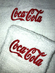 Embroidere White Cotton Bathroom Hand Toweland Cloth   COLA RED Theme  H1404