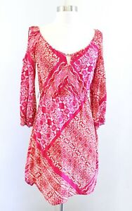 Yoana Baraschi Pink Orange Animal Print Cold Shoulder Cutout Mini Dress Size 6