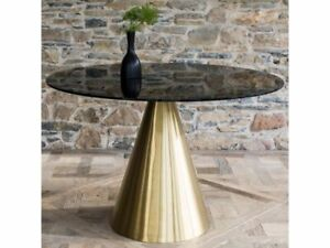 Large Modern Circular Black Glass Dining Room Table/Brass Brushed Conical Base