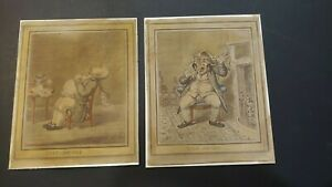 Authentic1806 colored etchings. Fast Asleep and Wide Awake by James Gillray