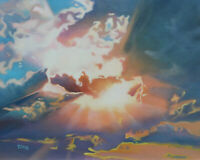 Original Artwork oil painting Clouds on canvas panel, nature sky 16''x20""
