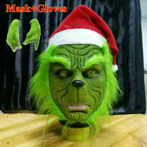 The Grinch Full Head Latex Mask Wig And Xmas Hat Monster Costume Holloween Decor
