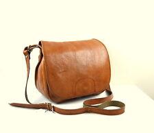 Vintage Tan/ Brown Leather Cross Body Messenger Satchel Shoulder Saddle Bag