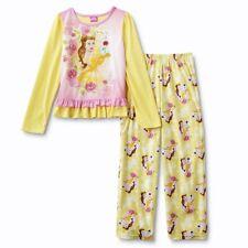 Beauty /& The Beast Belle Disney Princess Pink Fleece Warm Pajama Set Girls 6 6X