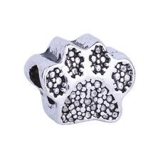 2pcs Silver Big Hole Charms Dog Paw Prints Beads Fit European Charms Bracelet
