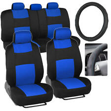 PolyCloth Car Seat Covers & Synth Leather Steering Wheel Cover - Blue 10pc Set
