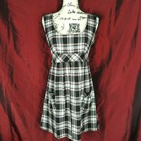 Black White Red Plaid Scoop neck Above knee Sleeveless A line Dress Sz 5 Junior