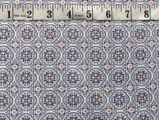 "Pretty Blue Ivory Pink Geometric Soft Drapey Viscose Fabric 57"" Wide by metre"