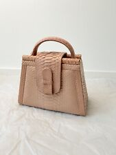 Ximena Kavalekas, dust pink python leather box bag with shoulder strip