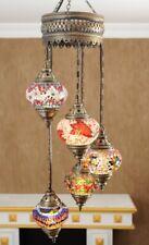 Turkish Moroccan Mosaic Lantern Chandelier Globe Lamps Stained Glass Brass Light