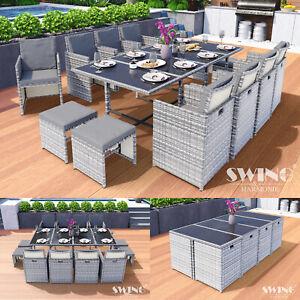 Poly Rattan Sitzgruppe Esstisch Lounge Gartenmöbel Sitzgarnitur Tisch + Stühle