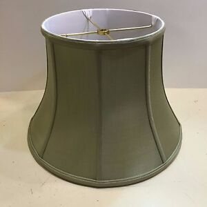 "12"" Celedon Green Silk Lampshade Modified Bell Shape Fabric Lamp Shade NEW"