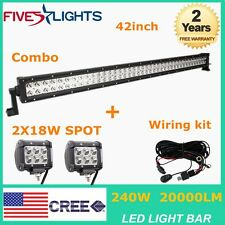 "240W 42"" LED Light Bar Combo Work Offroad Driving 4WD UTE Free Wiring+2X18W Cube"