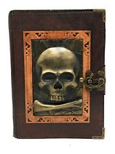 Handmade Genuine Leather Refillable Journal Diary Note Sketch Book Brown Skull