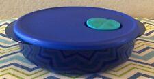 Tupperware Round Rock N Serve 3 1/4 Cups Blue w/ Aqua Spout Microwave Safe New