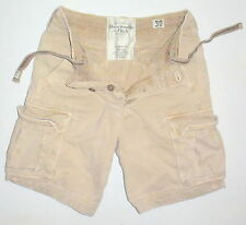 Mens 30 Abercrombie & Fitch Khaki Heavy Duty Cotton Cargo Shorts Relaxed Fit