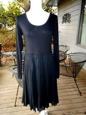 DKNY LONG SLEEVE BLACK PLEATED SILK BLEND DRESS SZ. M NWT $325