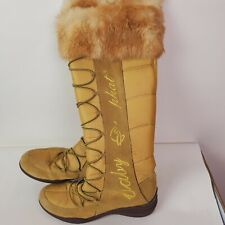 Baby Phat Tan Calf-High Winter Boots Women's Fur Top Size 7 B Lace Up Comfy
