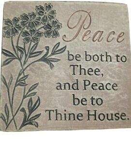 """Inspirational Wall Plaque """"Peace be both to Thee, and Peace be to Thine House""""."""