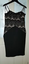 New Look Womens Dress UK 14 Lace Black/ Nude Party Fitted Body-con