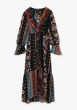 New  Zara Midi Dress Boho Patchwork Printed Midi Dress Size Medium .