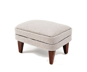 Dolls House Walnut & Grey Fireside Footstool Pouffe 1:12 Living Room Furniture