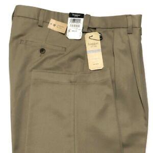 Haggar Comfort Waist Pants 34 No Iron Moisture Wicking Tan Micropoly Gaberdine