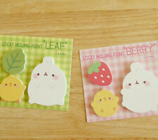 Molang Post-it Sticky Point Note 2EA Memo Pad Cute Bookmark Bookmarker Index