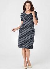 1db9874b1e1 Blue Jacquard spot Ponte short sleeve strong stretch DRESS size 26 NEW