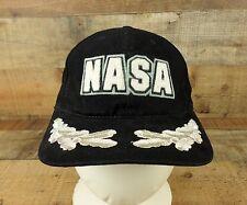 NASA Captain Hat Cap American Needle Space Rocket Laurel Patch Black Vtg