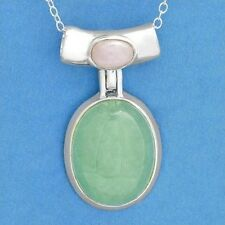Green Jade Chalcedony Necklace 925 Sterling Silver Brand New ss
