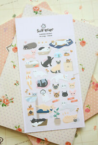 Meow Cats Suatelier Stickers cute kitty diary journal planner scrapbook sticker