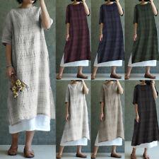AU STOCK Women Short Sleeve 100%Cotton Check Midi Dress Loose Plaid Kaftan Tunic