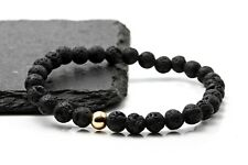 Mens Lava & 9ct Gold Stretch bracelet-Semi precious Bead Bracelet-Stackable