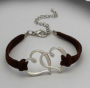 Entwined Connected Hearts Brown Suede Leather Straps Love / Friendship Bracelet