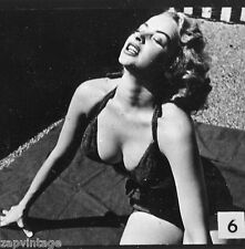 Vintage 1950's Black & White PIN-UP Sexy HEADSHOT Model Bahting Suit BOOBS Photo